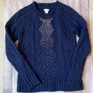 J. Crew Navy Beaded Cable Wool Sweater Navy